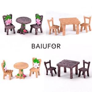BAIUFOR Мини Мебель для дома Стол и стул Fairy Garden Миниатюрные Террариум Статуэтки Doll House Decor Doll House аксессуары