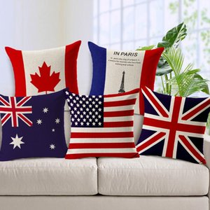 National flag Linen couch Cushion Covers United Kingdom United States Australia Flags Decorative Pillow cases Sofa back cushions