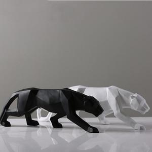 Leopar Heykeli Büyük Boy Modern Soyut Geometrik Stil Reçine Panther Heykel Hayvan Figurine Ev Ofis Dekorasyonu Süsleme