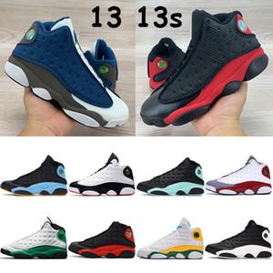 Sorte jumpman 13 basquete sapatos 13s das sapatilhas dos homens tribunal tampão roxo verde e vestido chris paul longe playoff Flint gato preto produzido formadores