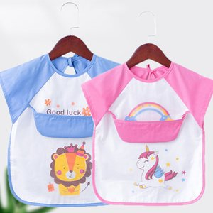 Lovely Baby Bibs Cartoon Animals Baby Boy Girl Bib Waterproof EVA Infant Toddler Short Sleeve Apron Feeding Burp Cloth