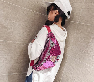 Baby Kids Sequins Waist Bags Girls Letter Designers Crossbody Chest Bag Messenger Bag Child Cute Shoulder Pack Outdoor Handbags Bags LY916
