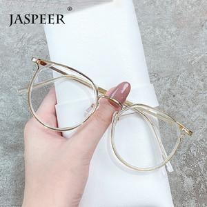 JASPEER Retro Anti affaticamento degli occhi Computer occhiali vintage rotonda Anti Blue Light Light Blue Glass Eye Uomini Blocco telaio Donne