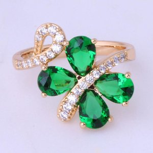 Anillos de racimo amor monólogo clásico verde cz cristales estilo mariposa estilo de mariposa para las mujeres amarillo oro color aniversario joyería x0042