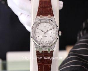 2020 высокого качества королевского дуба офшорных мужчины полные алмазов часы AP кожа наручные часы каучукового ремешок резиновые мужские часы D1101