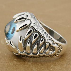 Огромный синий Eyeball Череп Claw 92,5% стерлингового серебра Мужские кольца 8S009 США Размер 8 ~ 14 Бесплатная доставка