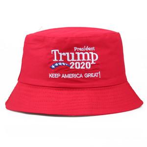2020 Donald Trump Wahl Stickerei-Kappe Bucket Hats USA gedrucktes Sommer-Sonnenblende Sport Reise Strand Fischer-Hut Kopfbedeckung SALE F91203