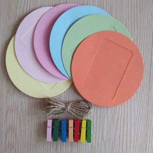 New Colorful Circle Wall Deco DIY Creative Mini Paper Photo Frame Mini Colored Clothespins Twine Photo Frame