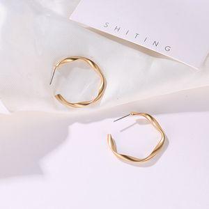 Simple Style Middle Circle Geometric Distortion Matte Silver Golden Drop Earrings Dangle Earrings For Women