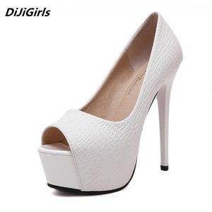 Women Peep Toe Pumps High Platform Stiletto 14cm Super High Heels Ladies Wedding White Shoes Red Bottom Black Heels Women PUMPS