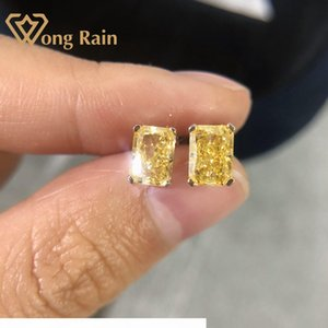 Wong Rain Classic 100% 925 Sterling Silver Created Moissanite Citrine Gemstone Earrings Ear Studs Wedding Fine Jewelry Wholesale CX200628