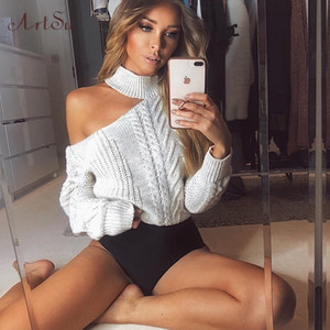 Women's 2019 New Casual ArtSu Solid Loose Sweater Bare Shoulders Knitted Pullovers Winter Oversized Sweaters ASSW60310