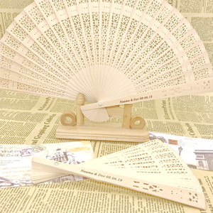 36PCS Personalized Asian Pocket Folding Fan Wooden Printing Hand Foldable Fans Wedding Favors And Gifts Organza Bag