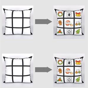 2020 Blank Sublimation Taie bricolage Sublimation 9-Grid 45cm * 45cm Pillowcases transfert de chaleur d'impression pillowslip blanc Sans PP Coton
