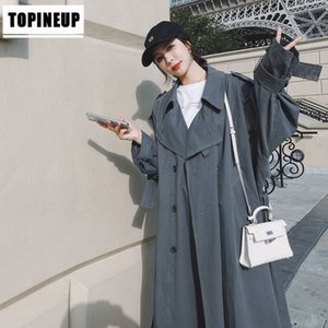 Oversize loose double breasted windbreaker for women new England style vintage gray long trench coats female chic outerwear