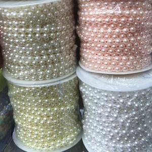 25m / lot de 6 mm en plastique ABS plat Retour perlesBoucles Demi perles chaîne cadeau de mariage Emballage Bijoux bricolage fabrication de matériaux Y200918