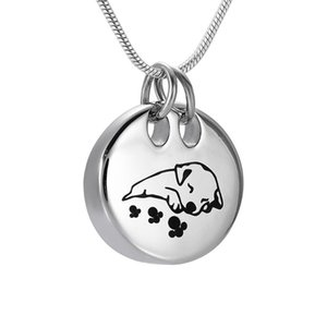 IJD9941 Memorial Sleeping Dog Crémation en acier inoxydable Souvenir Pendentif pour Ashes Urn Keepsake Bijoux Collier