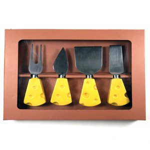 Tableware high quality cheese knife ceramic handle promotional gift stainless steel tableware set of 4