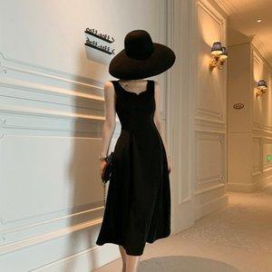 Hot Sale celebrity Pearl skirt vest skirt same Style 2020 Summer new French Hepburn style high waist dress pearlmid-length sleeveless