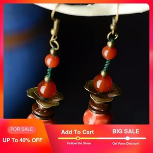 long fashion color glazed antique drop red earrings for women ethnic style wholesale vintage dangle natural stone jewelry