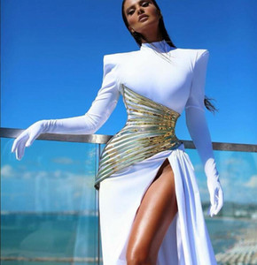 New spring 2020 Evening dress Yousef aljasmi Long sleeve White Sheath High neck High shoulder Split Long dress Mermaid
