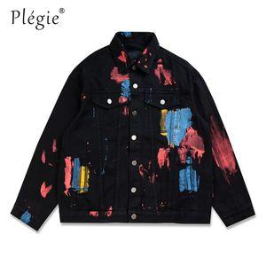 Plegie 힙합 잉크 낙서 데님 재킷 스트리트 남성 소식통 캐주얼 펑크 청바지 코트 남성 착실히 보내다 남여 탑 인쇄
