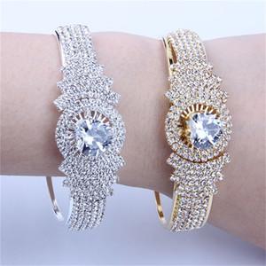 Goldfarben-Big-Armbänder voller Kristall Edelstahl Blumen Armband Frauen Femme Weibliche Hochzeit Zubehör Afrikanischer Schmuck
