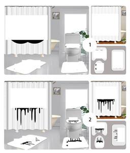 4PCS 세트 샤워 커튼 클래식 편지 로고 변기 비 슬립 화장실 매트 패션 욕실 액세서리를 커버