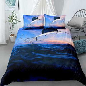 Custom Soft Bedding Sets USA Europe King Queen Size Duvet Cover Set 3D Sea Whale HD 2 3PCS Pillowcase For Sale