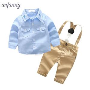 Детские Костюмы для мальчиков Одежда Осень моды младенческой ClothingGentleman ребенка костюм Лук голубой Галстук рубашка + ремень Брюки неонатальной Set