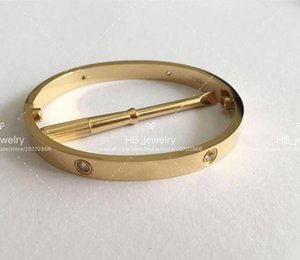 Fashion High version gold love screw bracelet nail bangle pulsera for mens and women Party wedding couples lovers gift jewelry With BOX