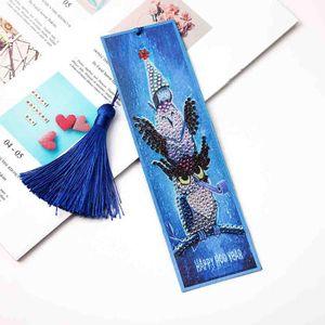 Special Shaped Diamond Painting Cartoon Bird Bookmarks Tassel Page Holder Special Shaped Diamond Art Mosaic Leather Tassel