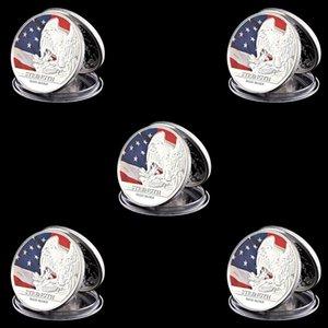 5pcs US Bürgerkrieg Geier-Staats-Flagge Freiheit Bald Eagle Strength 1 Unze Silber plattiert Münzsammlung Set