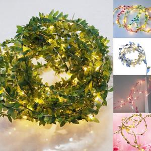 Green string festão da folha de videira de Luzes 4.5v 20LED 30LED 50LED 100 LED flexível cobre a pilhas Party Decor