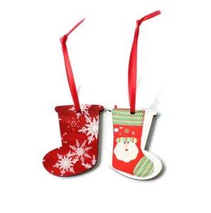 10 قطع زينة عيد الميلاد نقل الحرارة الطباعة قلادة التسامي mdf الحلي