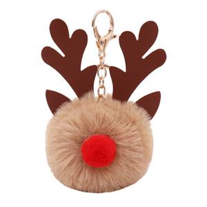 Woman Fashionable Car Pandent Christmas Reindeer PU Key Ring Keychain Fur Pompom Bag Key Chain Accessories