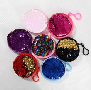 Moneda de las lentejuelas niños muchachas del muchacho de la sirena llavero monedero de las carteras de auriculares de almacenamiento portátil bolso de los niños de la cremallera bolsos de embrague caja dominante E9901