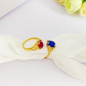 Mode d'or 14K Anneaux Couple délicat Zircon diamant pour les femmes des hommes de fiançailles de mariage Bijoux Bleu Saphire Anneaux pierre