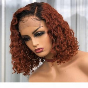 Deep Curly Ginger Blonde Short Bob Full Lace Wigs with Baby Hair 360 Frontal Wig Deep Part Transparent Lace Front Wigs Bleached Knots