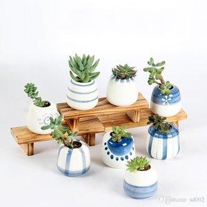 Dekorative Mode Einfache Sukkulenten Töpfe Pflanz Desktop Home handbemalte Keramik Blumentopf rund für Fleshy Kreative Flowerpots 3Y jj