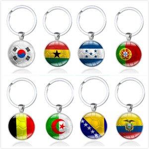 Copa do Mundo de Futebol Chaveiros Top 32 equipes de vidro cabochão Futebol Keyholder saco acessórios Fãs Bandeiras Souvenirs Nacional Keyings em stock