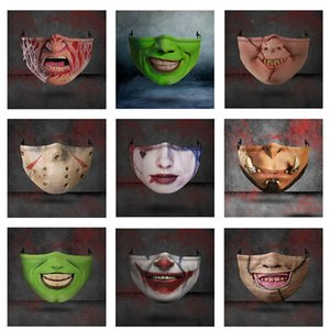 Design Masken-Halloween-Party Cosplay Masken Waschbar Joker Gesichtsmaske Digitaldruck Halloween Schädel Schutz Cotton Mask Maske