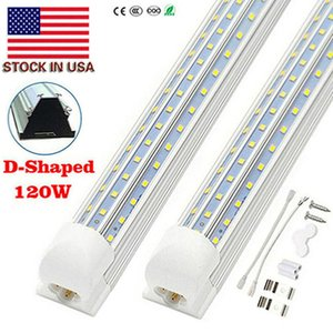 8ft LED Shop Light Fixture, T8, 8 Foot 120W 6000K, Clear Cover, V Shape, Cold White, Tube Light, Hight Output, Bulbs for Garage