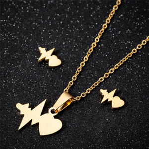 Gold Heart Necklace Earrings Jewelry Set Fashion Special Gifts Jewelry Stainless Steel Heartbeat Pendant Necklace
