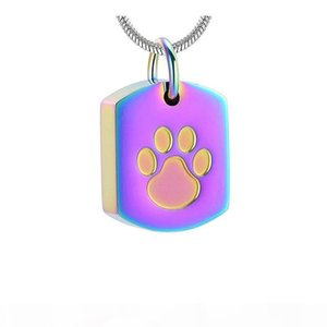 Dog Paw Etching Stainless Steel Memorial Urn Jewelry Loss Of Pet Keepsake Cremation Pendant Necklace