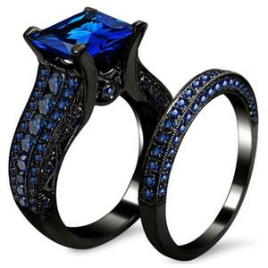 FDLK Black Gold Rhinestone Princess Taglio Nero o Blu CZ Wedding Engagement Band Anelli da sposa Set Dimensioni 5-12