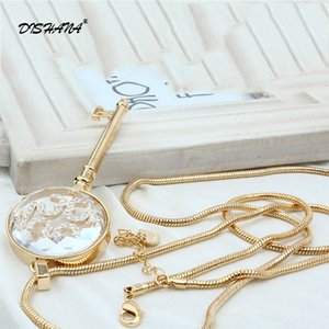 Hot Sale Long Strip Key Rhinestone Pendants Necklaces Jewelry femme Hot Fashion Gold-color Chain Jewelry Necklace