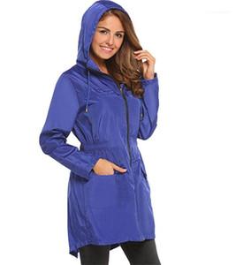 Trench Coats Fashion Solid mit Reißverschluss und Taschen-Jacken Designer Frau Tuchdrawstring Kapuze Elastic Waist