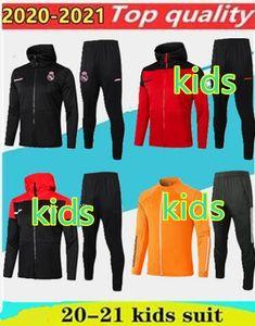2020 21 Реал Бавария Juve детей LUKAKUHat обучение Спорт куртка Длинные молнии Футбольная куртка Hat спорта Play Зимний тренировочный жакет