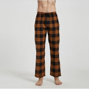 2020 Autumn Winter Men 100% Brushed cotton sleep bottoms Male nighty trousers Men Casual Loosen Plaid pajama pants XXL 100KGS